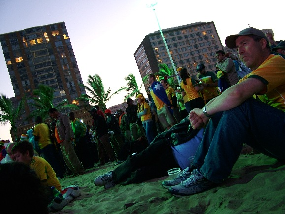 Australian fans relax on Durban's beachfront FIFA Fan Zone