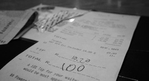 wheatln2's bill in arty black and white. Note the generous R10.20 tip, that over €1!