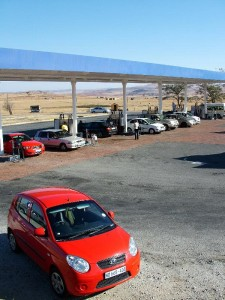 My rented Kia Picanto at a petrol station on the N3 Durban > Johannesburg road